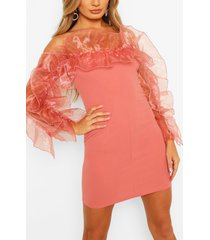 extreme organza ruffle off the shoulder mini dress, pink