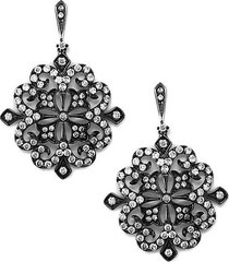 14k white gold & diamond lace drop earrings