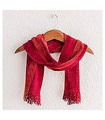 rayon chenille scarf, 'crimson embrace' (guatemala)