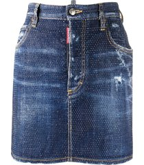 dsquared2 crystal-embellished denim skirt - blue