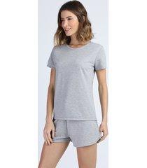 pijama feminino em moletom manga curta cinza mescla