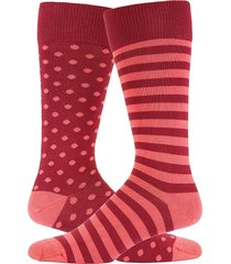 paul smith men's stripe & polka dot crew socks - red