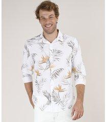 camisa masculina comfort estampada de folhagem com linho manga longa off white