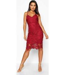 boutique gehaakte kanten midi jurk met bandjes, berry
