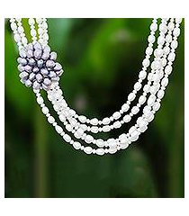 cultured pearl beaded strand necklace, 'powerful cluster' (thailand)