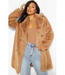 faux fur jas met dubbele knopen, camel
