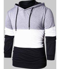 drawstring panel long sleeve hoodie