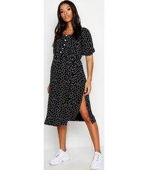 maternity off shoulder polka dot midi dress