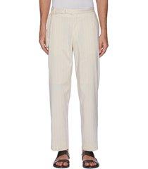 finx' belt detail striped cotton nylon blend pants