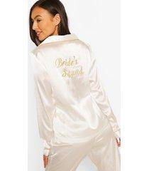 satijnen bride's squad pyjama set met broek, wit