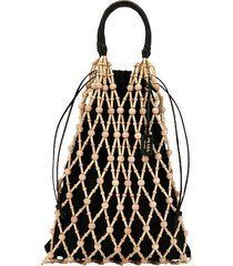 wood-net drawstring top handle bag