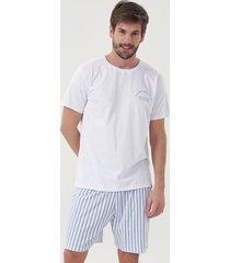pijama masculino manga curta listrado 30041 cor com amor