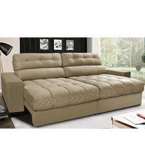 sofã¡ retrã¡til e reclinã¡vel com molas ensacadas cama inbox master 2,12m tecido suede bege - incolor - dafiti