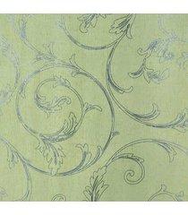 kit 2 rolos de papel de parede fwb fundo amarelo folhas prateada - amarelo/prata - dafiti
