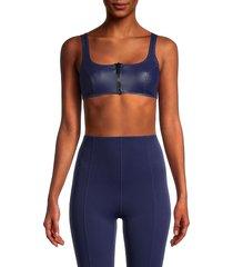 lisa marie fernandez women's front-zip sports bra - glossy navy - size xs