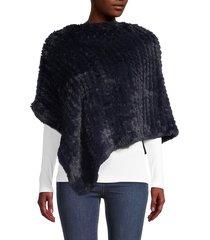 la fiorentina women's faux fur poncho - black