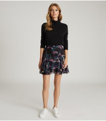 reiss nyla - printed mini skirt in black, womens, size 14