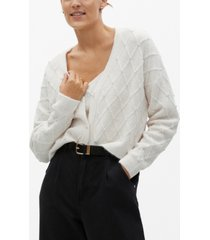 mango women's imitation pearl knitted cardigan