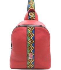 mochila de cuero roja leblu