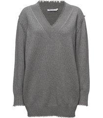 raw edge v-neck dress stickad klänning grå t by alexander wang