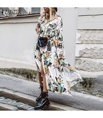 zanzea mujer de la manga completa turn down botón de collar floja ocasional del vestido floral de largo -blanco