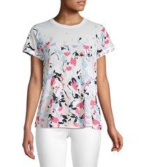 donna karan women's pleated print t-shirt - white blush - size xs