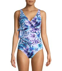 tommy bahama women's aquapetals one-piece wrap swimsuit - blue multi - size 4