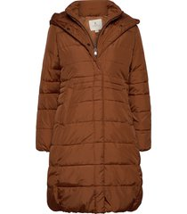 coat outerwear heavy gevoerde lange jas bruin brandtex