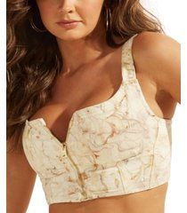 guess marble cropped bustier