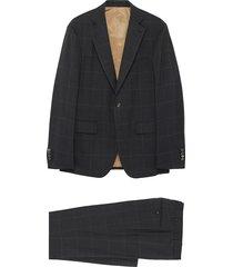 'satoria' notch lapel check wool suit