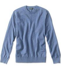 cotton/silk/cashmere crewneck sweater, blue, xx large
