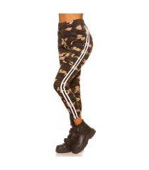 trendy camouflage leggings met contrast streep wit