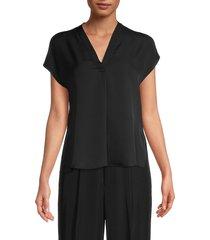 vince women's solid silk top - black - size xl