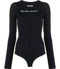 mm6 maison margiela logo print long-sleeves bodysuit - black