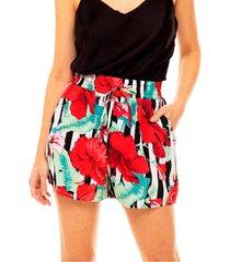shorts estampado sob floral vermelho e preto soltinho com bolsos - branco - feminino - dafiti