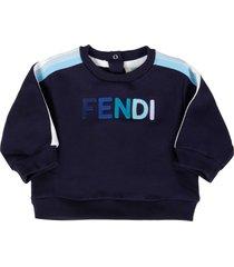fendi blue sweatshirt for babyboy with multicolor logo