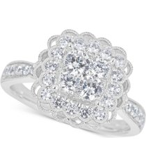 diamond cluster halo bridal ring (1-1/5 ct. t.w.) in 14k white gold