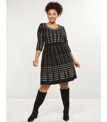 lane bryant women's contrast stitch fit & flare sweater dress 26/28 black