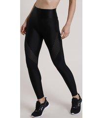 calça legging feminina esportiva ace com recortes em tela preta