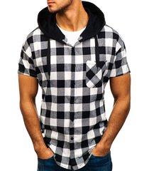 hombres casual plaid camisa sudaderas con capucha de manga corta con cordón