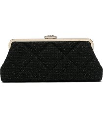 chanel pre-owned metallic threading tweed clutch - black