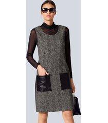 jurk alba moda zwart::beige