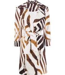 le petite robe di chiara boni animal print belted coat - white
