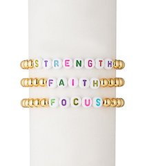 strength faith focus 18k goldplated & alphabet bead bracelet