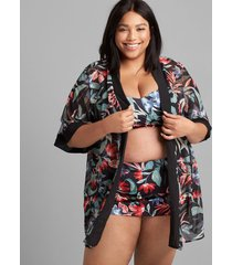 lane bryant women's kimono swim cover-up 26/28 island blooms