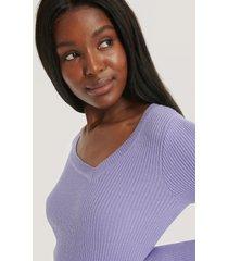 na-kd ribbstickad tröja med asymmetrisk halsringning - purple