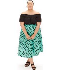 lane bryant women's beauticurve pull-on midi skirt 10/12 teal & black