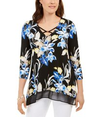 jm collection printed chiffon-hem tunic, created for macy's
