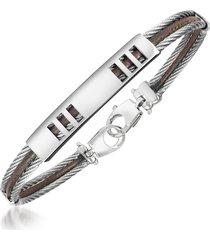 forzieri designer men's bracelets, di fulco - stainless steel bracelet with plaque