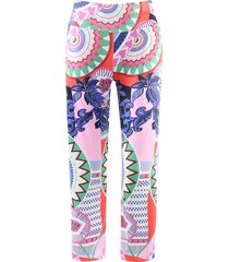 fashionable elastic waist loose-fitting printed women's exumas pants